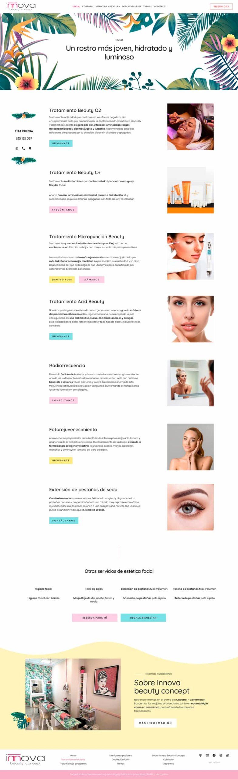 web estética • Innova Beauty Concept