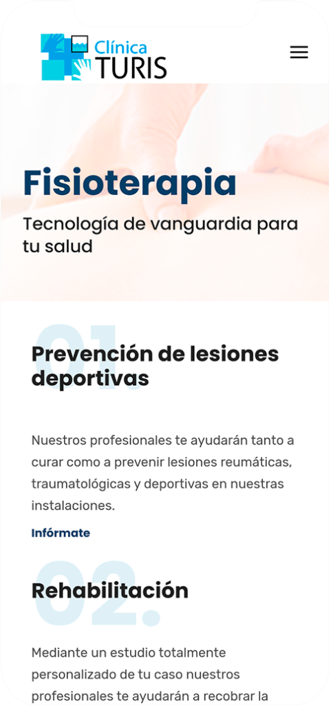 web reserva online • Clínica Turís