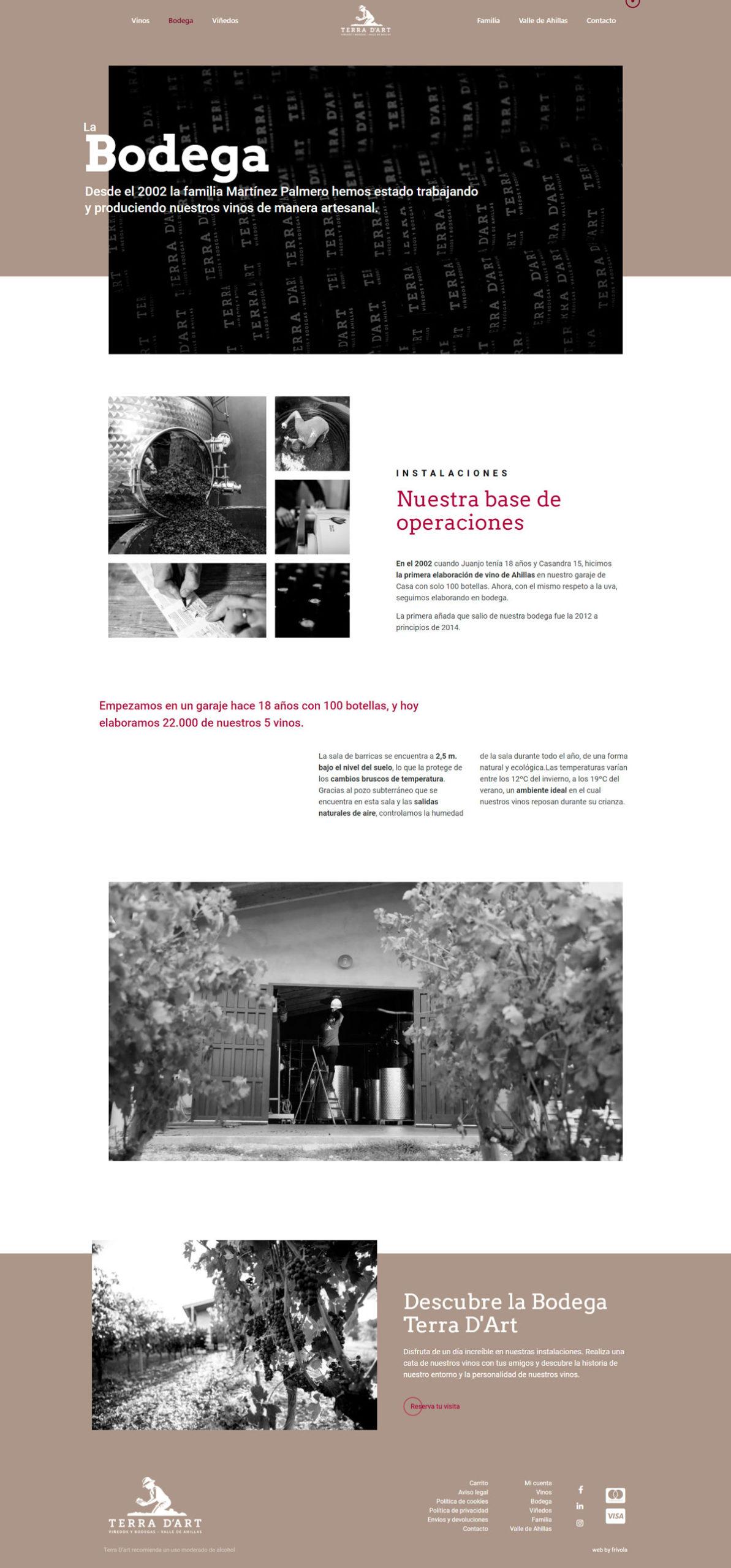 web de la bodega Terra D'Art • Bodegas Terra D'Art