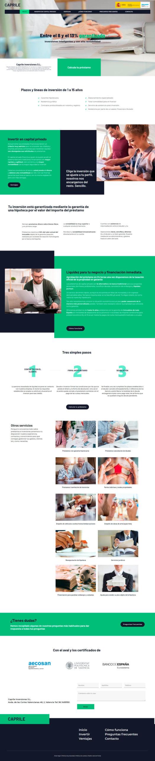 diseño web tipo one page • Capital Privado Levante