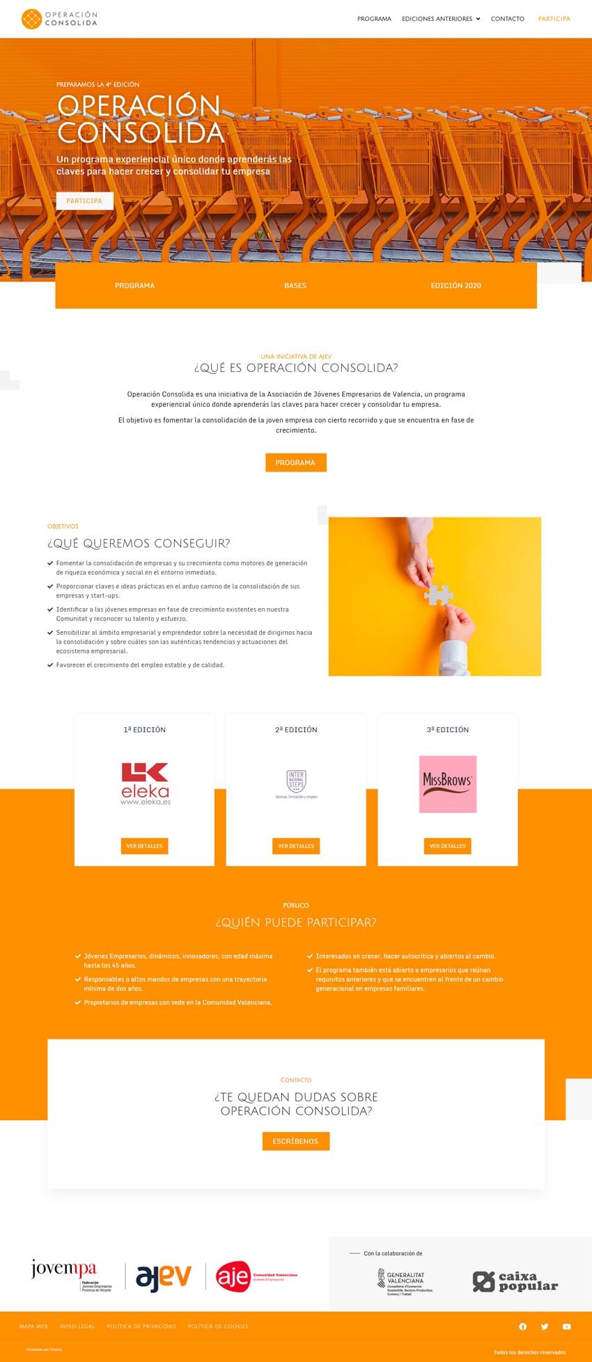 web asociación jóvenes empresarios • Operacion consolida