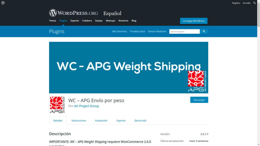 configurar los gastos de envío • Configurar los gastos de envío por peso - WC APG