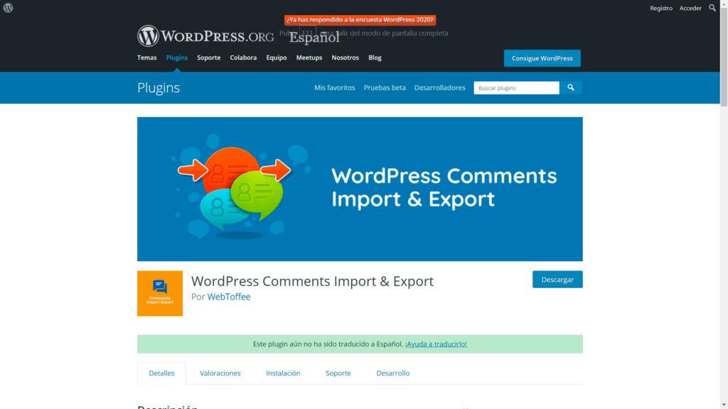 Exportar e importar comentarios • Exportar e importar comentarios - WordPress Comments Import & Export